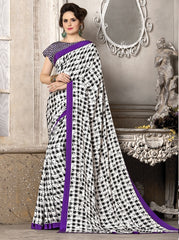 Black, White & Purple Color Crepe Office Wear Sarees : Priyasi Collection  YF-47617