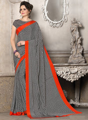 Black, White & Red Color Crepe Office Wear Sarees : Priyasi Collection  YF-47618