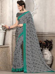 Black, White & Green Color Crepe Office Wear Sarees : Priyasi Collection  YF-47619