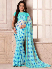 Firozi & Blue Color Wrinkle Chiffon Party Wear Sarees : Hanishka Collection  YF-47743