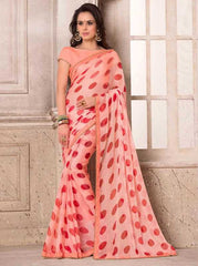Baby Pink & Red Color Wrinkle Chiffon Party Wear Sarees : Hanishka Collection  YF-47744