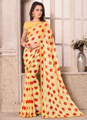 Yellow & Red Color Wrinkle Chiffon Party Wear Sarees : Hanishka Collection  YF-47745
