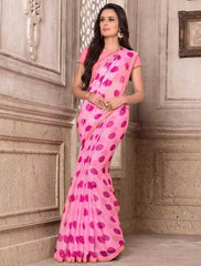 Pink Color Wrinkle Chiffon Party Wear Sarees : Hanishka Collection  YF-47747