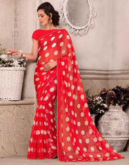 Red & White Color Wrinkle Chiffon Party Wear Sarees : Hanishka Collection  YF-47748