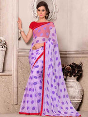 Lavender Color Wrinkle Chiffon Party Wear Sarees : Hanishka Collection  YF-47749