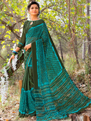 Green & Firozi Color Georgette Kitty Party Sarees : Vrinat Collection YF-68188