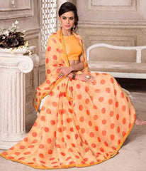 Orange Color Wrinkle Chiffon Party Wear Sarees : Hanishka Collection  YF-47750