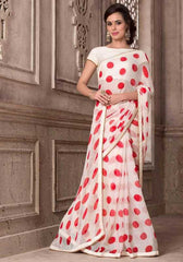 White & Red Color Wrinkle Chiffon Party Wear Sarees : Hanishka Collection  YF-47753
