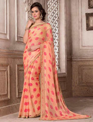 Peach & Pink Color Wrinkle Chiffon Party Wear Sarees : Hanishka Collection  YF-47754