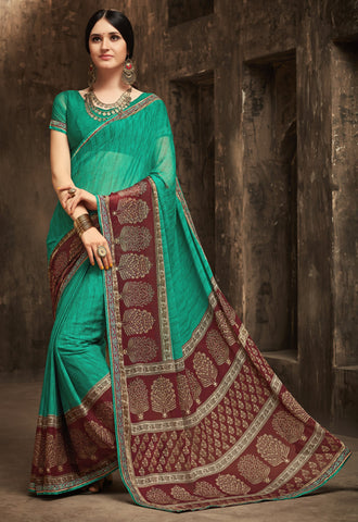 Green Color Chiffon Kitty Party Sarees : Gurdita Collection YF-70838