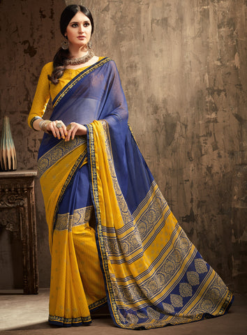 Blue & Yellow Color Chiffon Kitty Party Sarees : Gurdita Collection YF-70843