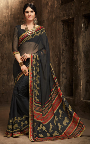 Black Color Chiffon Kitty Party Sarees : Gurdita Collection YF-70845