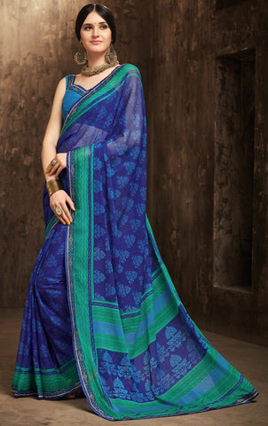 Blue Color Chiffon Kitty Party Sarees : Gurdita Collection YF-70847
