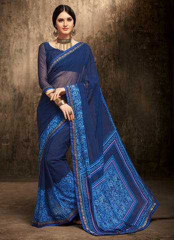 Blue Color Chiffon Kitty Party Sarees : Gurdita Collection YF-70854