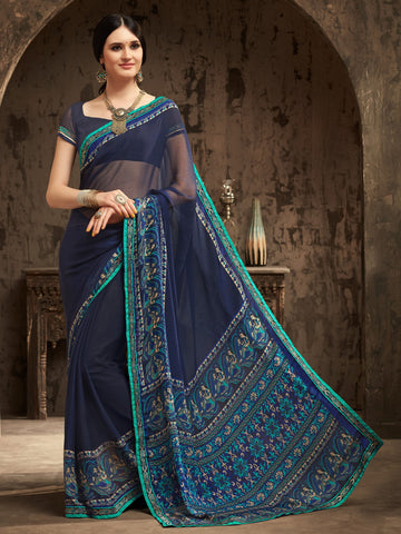 Blue Color Chiffon Kitty Party Sarees : Gurdita Collection YF-70855