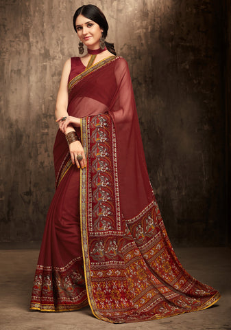 Maroon Color Chiffon Kitty Party Sarees : Gurdita Collection YF-70856