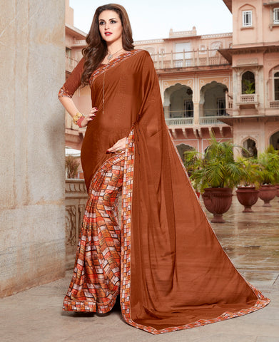 Brown Color Georgette Crepe Designer Party Wear Sarees : Himani Collection YF-65829