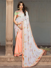 Off White & Baby Pink Color Georgette Party Wear Sarees : Sushriya Collection  YF-48951
