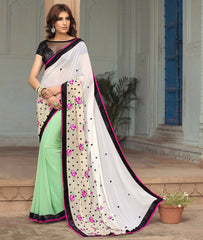 White & Pastel Green Color Georgette Party Wear Sarees : Sushriya Collection  YF-48952