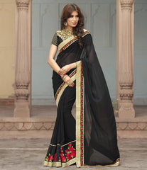 Black Color Georgette Party Wear Sarees : Sushriya Collection  YF-48955