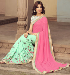 Pink & Pastel Green Color Georgette Party Wear Sarees : Sushriya Collection  YF-48956