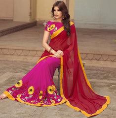 Pink & Red Color Georgette Party Wear Sarees : Sushriya Collection  YF-48958