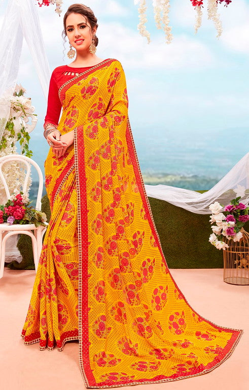 Yellow and Red Color Georgette Casual Wear Saree-  Orchid Collection  YF#11541