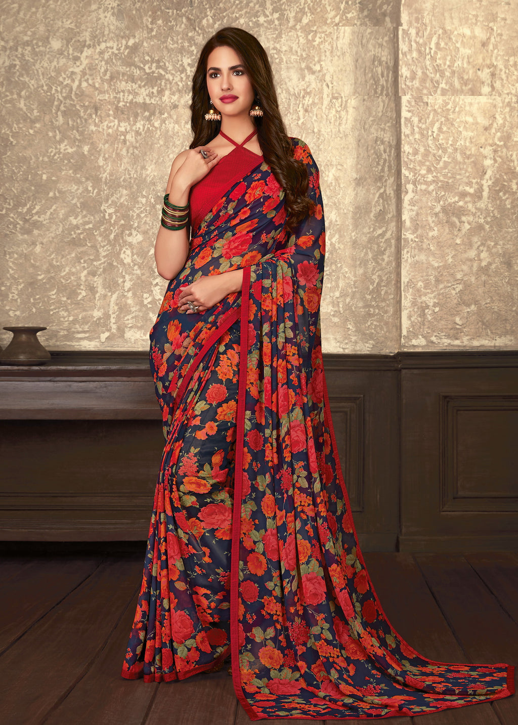 Navy Blue and Red Color Georgette Casual Wear saree -Alysa Collection YF#10186