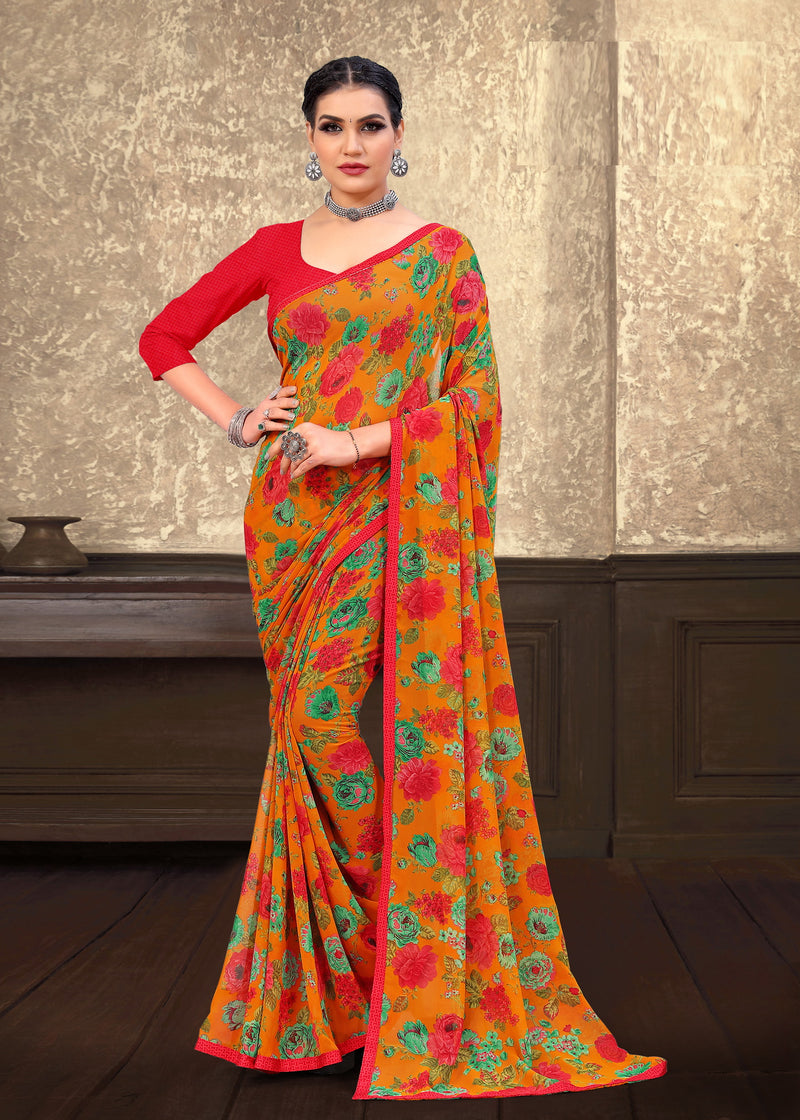 Orange Color Georgette Casual Wear saree -Alysa Collection YF#10187