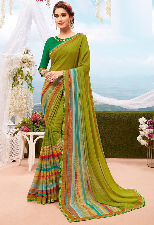 Green Color Georgette Casual Wear Saree-  Orchid Collection  YF#11542