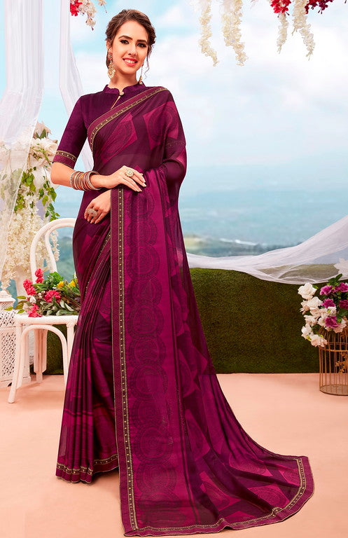 Pink and Black Color Georgette Casual Wear Saree-  Orchid Collection  YF#11543