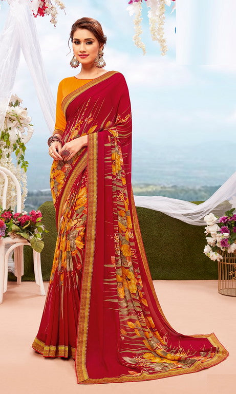 Yellow and red Color Georgette Casual Wear Saree-  Orchid Collection  YF#11544