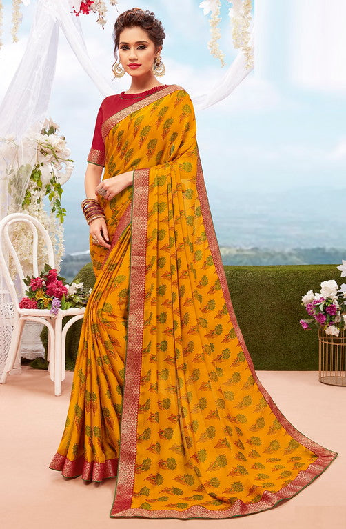Yellow and Red Color Georgette Casual Wear Saree-  Orchid Collection  YF#11546