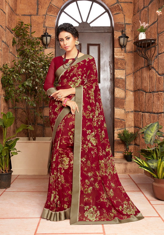 Maroon Color Georgette Kitty party wear Shravya Collection   YF#11650