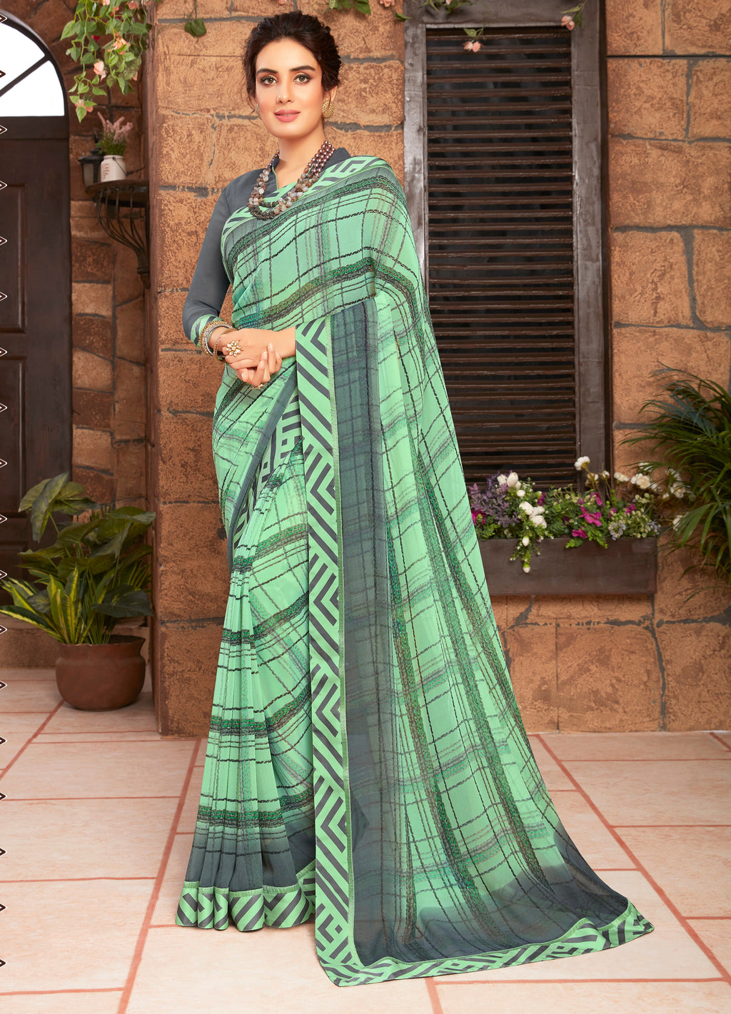Green and Grey Color Georgette Kitty party wear Shravya Collection   YF#11651