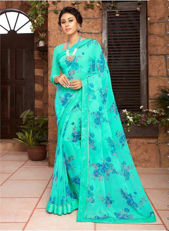 Blue Color Georgette Kitty party wear Shravya Collection   YF#11652
