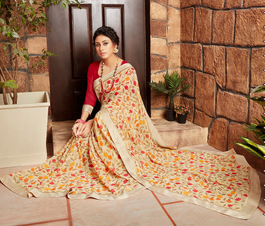Cream and Red Color Georgette Kitty party wear Shravya Collection   YF#11653