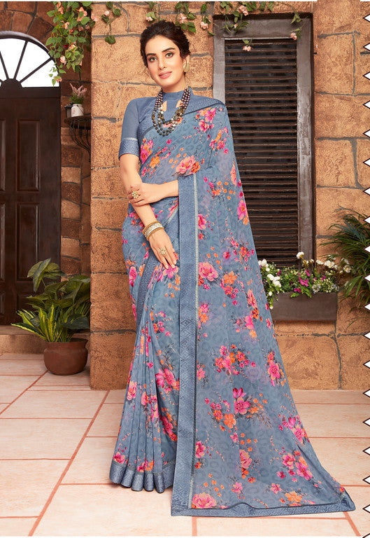 Greyish Blue Color Georgette Kitty party wear Shravya Collection   YF#11654