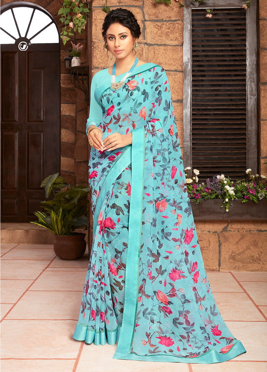 Ocean Blue Color Georgette Kitty party wear Shravya Collection   YF#11655