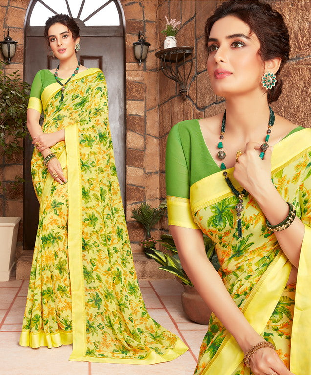 Yellow and Green Color Georgette Kitty party wear Shravya Collection   YF#11656