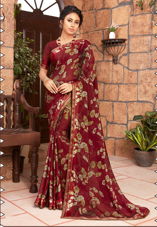 Maroon Color Georgette Kitty party wear Shravya Collection   YF#11657