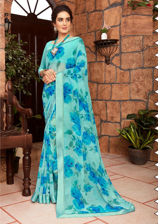 Blue Color Georgette Kitty party wear Shravya Collection   YF#11661
