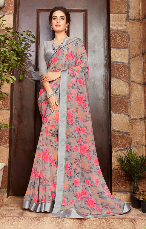 Grey and Pink Color Georgette Kitty party wear Shravya Collection   YF#11662