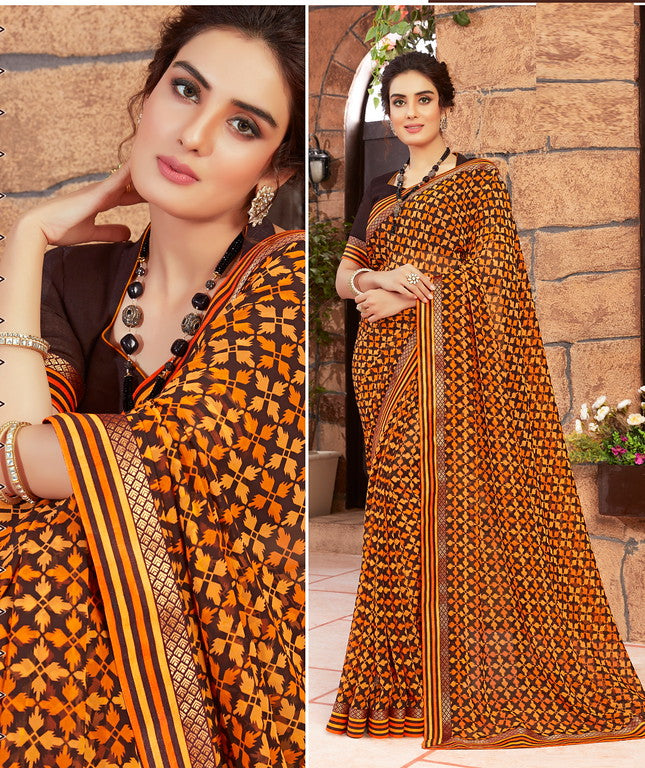 Brown and Orange Color Georgette Kitty party wear Shravya Collection   YF#11664