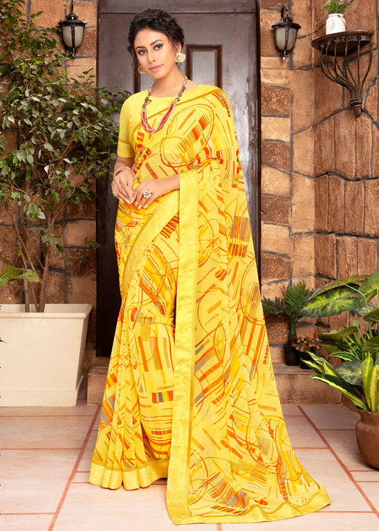 Yellow Color Georgette Kitty party wear Shravya Collection   YF#11665