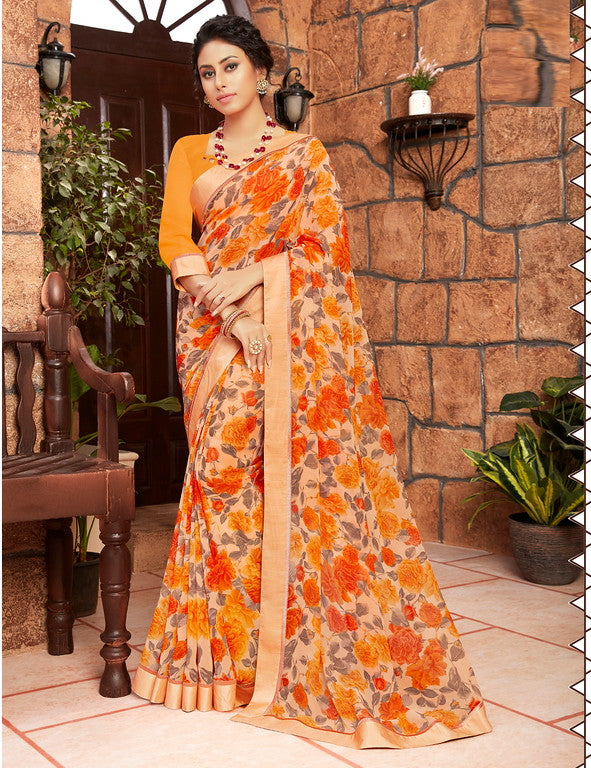 Shades of Orange Color Georgette Kitty party wear Shravya Collection   YF#11666