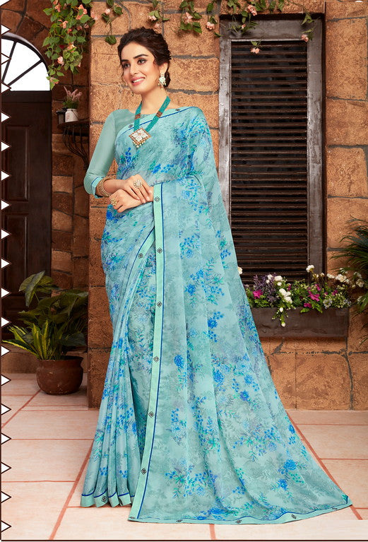 Shades of Blue Color Georgette Kitty party wear Shravya Collection   YF#11668