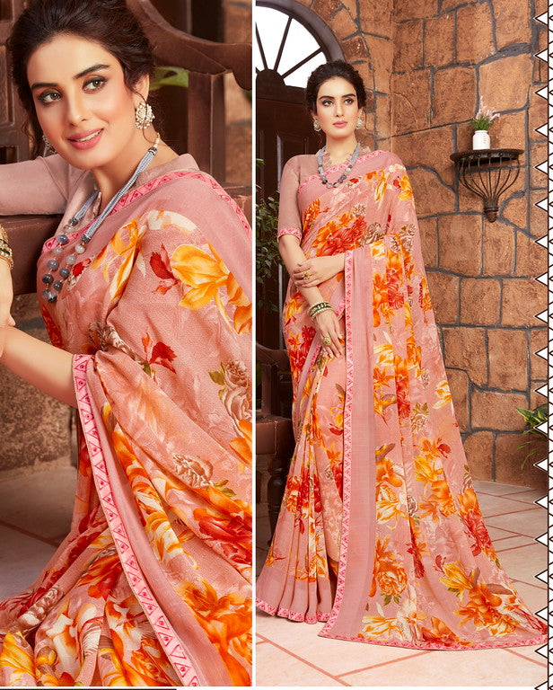 Powder Pink Color Georgette Kitty party wear Shravya Collection   YF#11669