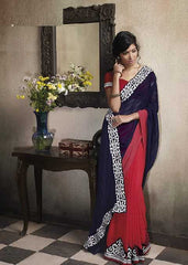 Navy blue and Red  Colour  Georgette  Material Designer Sarees : Embroidery Collection -  YF-15014