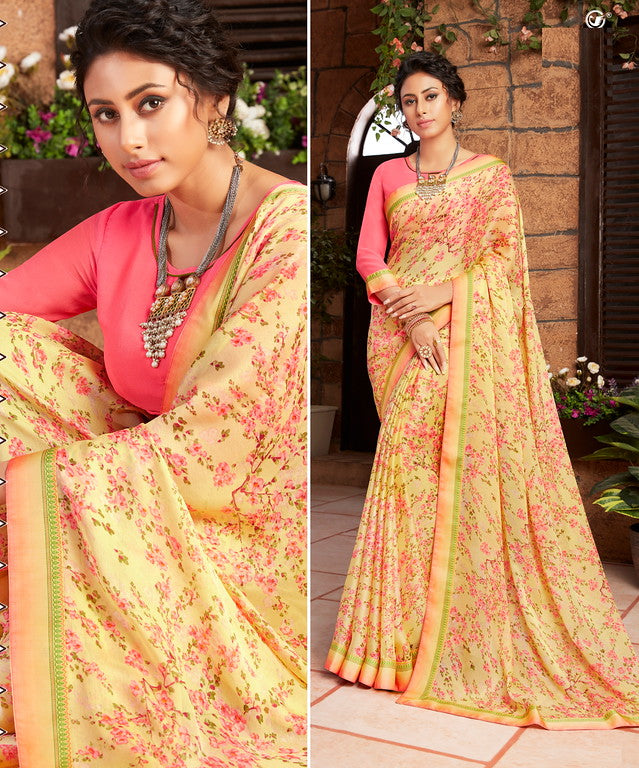 Yellow and Pink Color Georgette Kitty party wear Shravya Collection   YF#11670